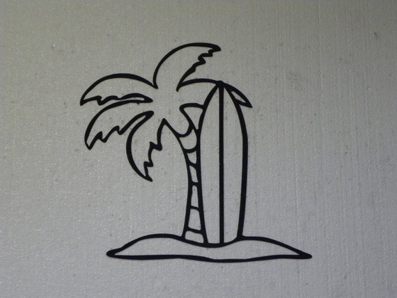 Surfboard And Palm Tree Tropical Decor Metal By