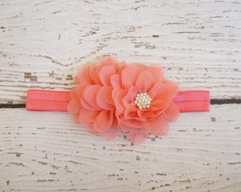 peach flower headband, chiffon shabby flower headband, baby headband, girls headband, newborn headbands, antique flower headband, peach