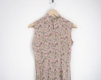 Vintage Silk Dress | Silk Floral Print Dress with Toggle Buttons | Silk Sleeveless Button Dress | Mandarin Collar Floral Pink Dress