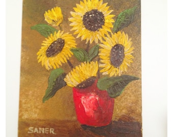 Vintage Oil Painting Sunflowers SALE + FREE SHIPPING!
