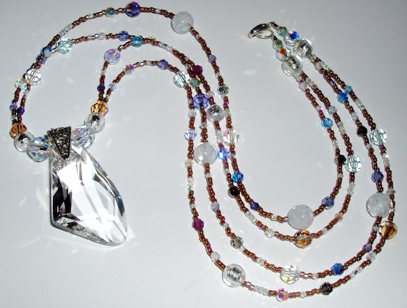 Stunning Crystal Pendant with Crystal and Murano Glass Strands