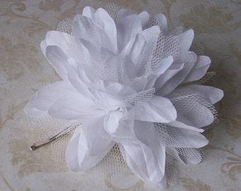 White Hair Flower - Chiffon and Tulle Wedding Hair Flower Pin