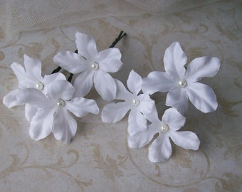 White Stephanotis Flower Hair Pins - Set of Six - Bridal Hair Flowers - White Wedding Hair Flowers