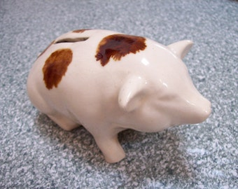 Vintage BENNINGTON Piggy Bank  porcelain large sow pig spotted