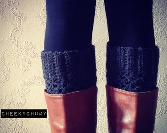 Charcoal colour boot cuffs. Boot toppers. Leg warmers.