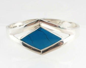 Turquoise Bracelet Reconstituted Gemstone - Silver 950 Hinged Bangle Estate Fine j6063