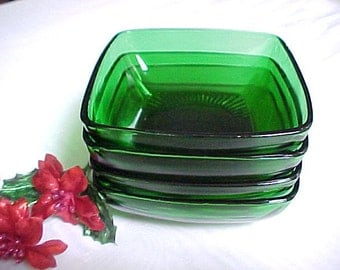 1950s Anchor Hocking Charm Forest Green Fruit or Dessert Bowls (4), Square Midcentury Modern Kitchen Glassware, Vintage Collectible Glass