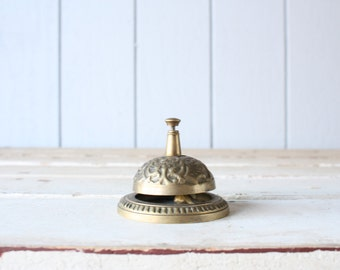 Vintage Ornate Counter Bell // Solid Brass