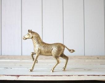 Vintage Brass Zebra // Solid Brass