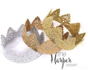 READY to SHIP|| the Harper||newborn vintage lace crown || choose ONE|| gold or silver photography prop ||headband option (newborn-toddler)