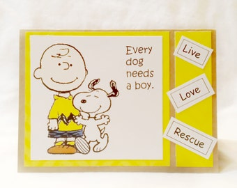 Every boy need a dog  Charlie Brown Greeting Card       Blank Inside  Set of 2
