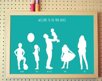 Personalised Silhouette Family Print