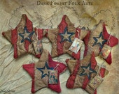 Primitive Patriotic Star Ornaments, Wall decor
