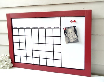 dry erase calendar organizer with red handmade solid wood frame 17 x 25 magnetic board family