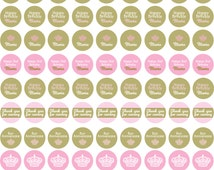 Birthday or Baby Shower Crown Party in Gold and Pink- Chocolate Kiss Labels Personalized with Name for favor or candy buffet- Print your own
