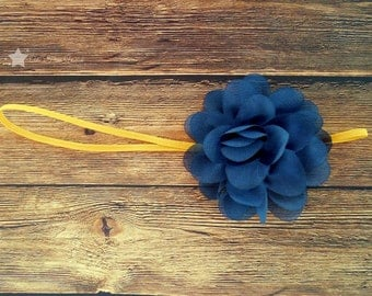 WVU baby elastic headband, blue and gold, baby headband, infant headband, newborn headband, girl headband, baby girl headband, hair clip
