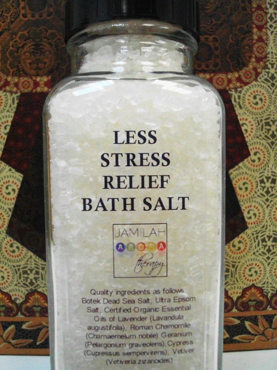 Less Stress Relief Detoxifying, Soothing Dead Sea Bath Salts with Organic & Wildcrafted Essential Oils to Relax, Release Tension, 8 oz.