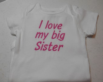 I Love My Big Sister Shirt Baby Girl Shirt Pink Embroidery on Carters Bodysuit 9 month size
