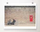 black bicycle photograph red mailbox photograph cambridge photograph black bicycle print english post box photograph travel photography