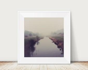 winter photograph fog photograph river photograph landscape photograph english decor england photograph purple home decor