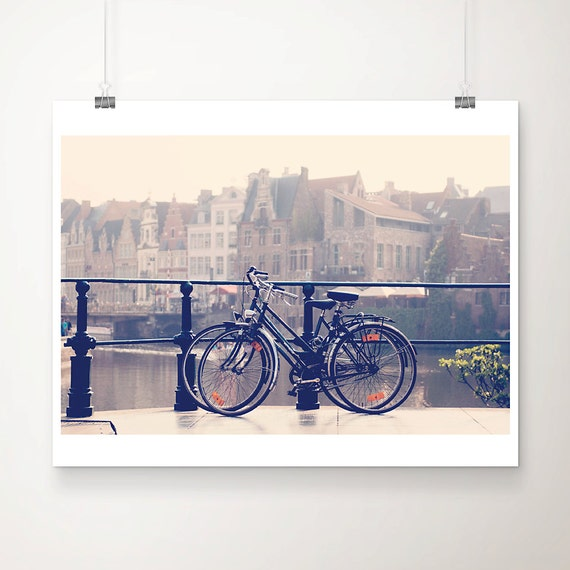 bicycle photograph ghent photograph travel photography belgium photograph river photograph architecture photograph bicycle print