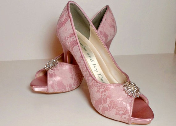 mullberry pink lace wedding shoes dusty by lambsandivydesigns