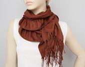 CLEARANCE SALE - Scarf ,Ruffle scarf  ,Pashmina ruffle scarf ,long scarf,  brown