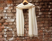 Wedding shawl Bridesmaids gifts, Pashmina shawl, ivory bridal gift ,with handmade lace, WAS 25.90 USD