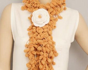 Mulberry scarf  , Pompom scarf ,cocoon scarf with removable  crochet brooch , milky brown