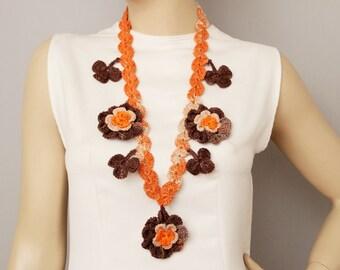 Statement necklace ,crochet jewelry ,crochet  bip necklace,crochet necklace, fiber  necklace