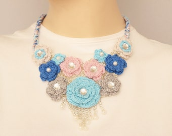 Bib necklace,crochet jewelry ,crochet  bip necklace,crochet necklace, fiber  necklace