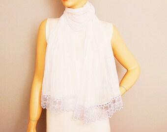 Lightweight white  plain long summer scarf  ,very thin fabric scarf  ,white summer scarf