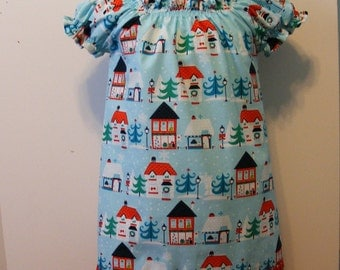 Christmas All Around Town  Peasant Dress ( 12 mos - 5T)