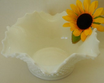 MILK GLASS, Vintage English Hobnail Centerpiece Bowl