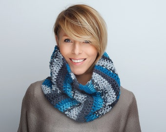 Cowl Neck warmer Scarf Chunky Grey Turquoise stripped shawl