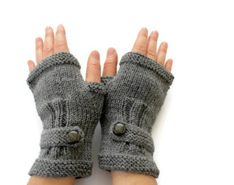 Autumn Finds/ Arm Warmer / Hand Knit Fingerless Gloves / Dark Grey / Gray  / Medium size fits most. / Autumn color/ Front Page