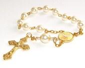 Holy Spirit Chaplet Rosary Prayer Beads, Cream Swarovski® Pearls with Gold Crucifix