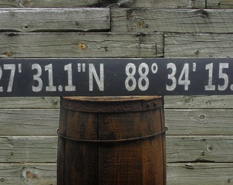 Personalized Latitude Longitude Rustic Wood Sign - Hand Crafted Custom Wooden Home Decor