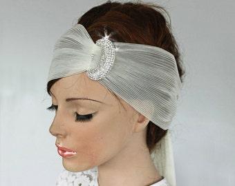 Bridal Turban Headband, Rhinestone, Stylish Pleated Organza Sash, Ivory Cream, Alternative Art Deco Wedding Hair Fascinator,