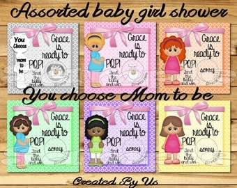 Ready to Pop Baby Shower game Baby girl Scratch off cards Scratch tags Party Scratch off game Favors baby girl shower CHOOSE mom 12 Printed
