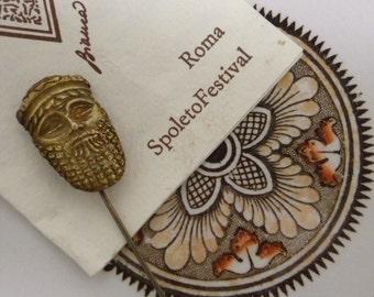 Vintage Signed Pin Etruscan Spoleto Festival Rome 925 Sterling Vermeil