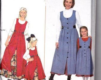 1990's Womens and Girls Sewing Pattern Jumper and Petticoat Mother/Daughter Pattern Simplicity 8292