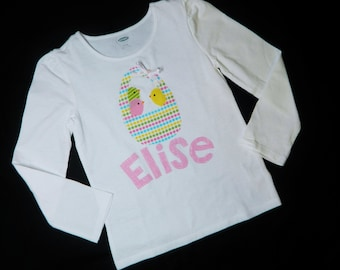 Easter holiday shirt with yellow, pink and blue spring chick-a-dee birds in a polka dot basket personaized with name applique sizes NB - 16