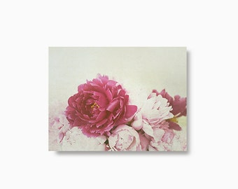 Flower Greeting Card, Peonies photography, shabby peony blank notecard set, floral blank greeting cards, pink peonies photography