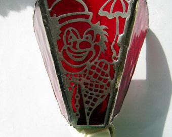 Stained Glass Clown Night Light~ Red Clown Nightlight ~ Handmade stainded glass Clown nightlight