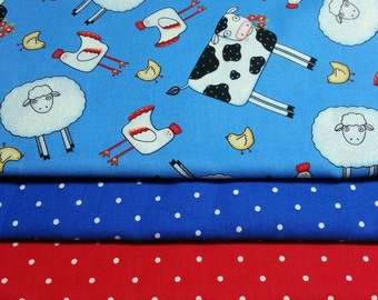 Quiltsy Destash Party SALE, 3 Yards Cows Sheep Chickens Cotton Fabric Quilt Kit,  Coordinating Cotton Fabric Quilt Kit