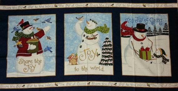 SALE, Snowman Fabric Panel, Moda Snowman Fabric Panel