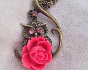 Dark pink resin flower on brass owl pendant necklace with 3 swarovski crystals!