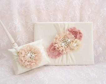 Wedding Guest Book and Pen Set, Guestbook -  Champagne and Blush Blossom Ivory  CUSTOM COLORS  too