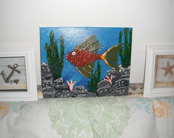 Spotted Fish Painting / Original Painting / Acrylic painting / 8 x 10 canvas panel / Art